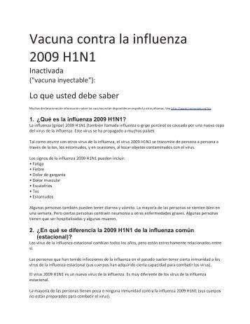 Vacuna contra la influenza 2009 H1N1 - ESRD Network of New ...