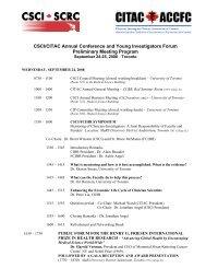 DRAFT Program for September 24-25, 2008 CSCI ... - Friends of CIHR