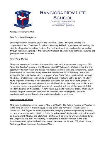 welcome letter february rangiora new life school rangiora