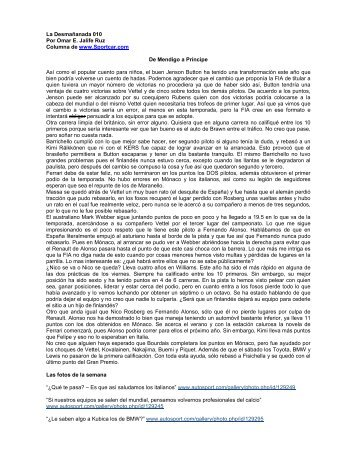La Desmañanada 010 Por Omar E. Jalife Ruz Columna ... - Spor Car
