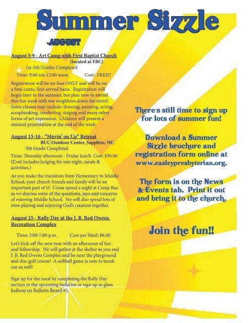 July Newsletter.indd - Easley Presbyterian Church