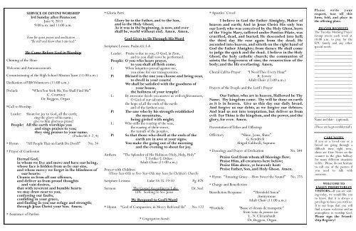 June 9 - Easley Presbyterian Church