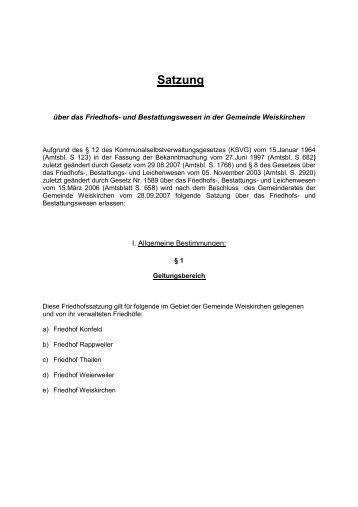 Satzung - Weiskirchen