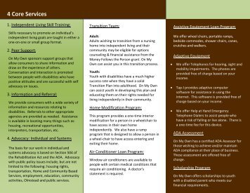 Services for Independent Living (pdf) - On My Own - Home