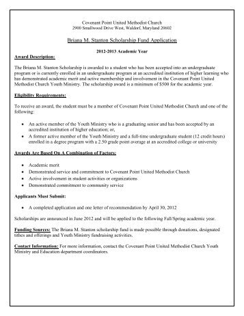 Briana M. Stanton Scholarship Fund Application