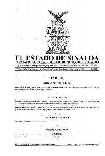 """EL ESTAD()"""" DE SINALOA - Gobierno del Estado de Sinaloa"""