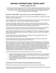 Release International Prayer Alert - 18 January 2011