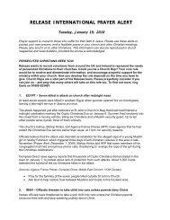 Prayer Alert - 19 January 2010 - Release International