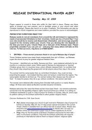 Prayer Alert May 19 2009 - Release International