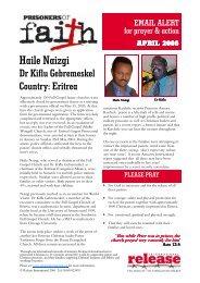 Prisoners of Faith alert April 2006 - Release International