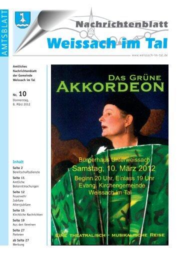 Ausgabe 10/2012 vom 08.03.2012 - Gemeinde Weissach im Tal