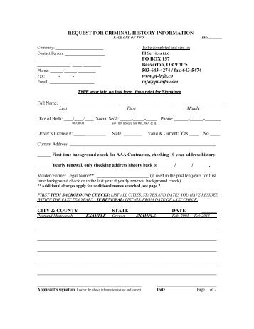 Criminal Background Check Permission Form - Employee