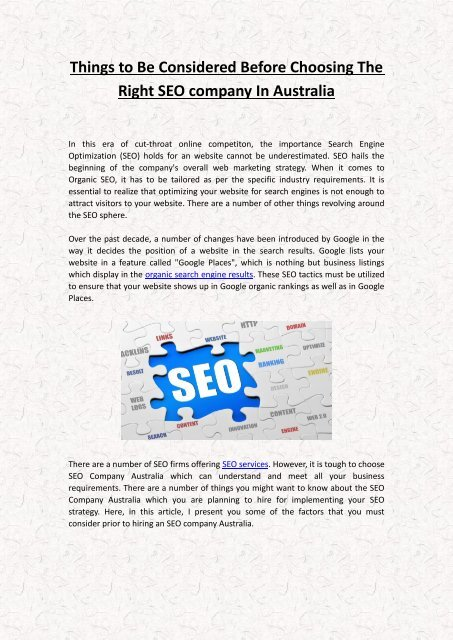 Things to Be Considered Before Choosing The Right SEO company In Australia