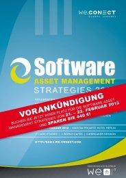 Vorankündigung Software Asset Management Strategies 2013