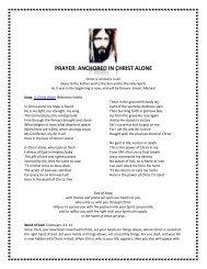 PRAYER: ANCHORED IN CHRIST ALONE
