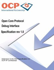 Open Core Protocol Debug Interface Specification rev 1.0 - OCP-IP