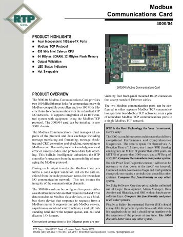 Modbus Communications Card - RTP