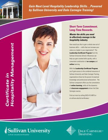 Certificate in Hospitality Management - Dale Carnegie Training