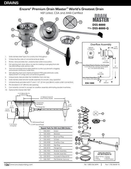 Component Hardware DSS-0010 Drain Repair Kit