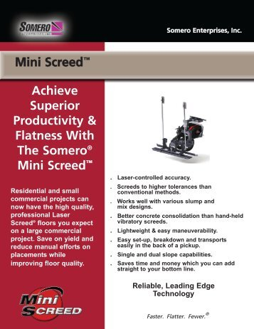Mini Screed™ Achieve Superior Productivity & Flatness With The ...