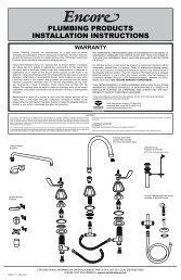 PLUMBING PRODUCTS INSTALLATION INSTRUCTIONS - Encore