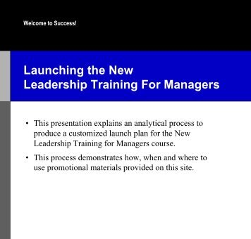 Launching the New Leadership Training For Managers - sales ...