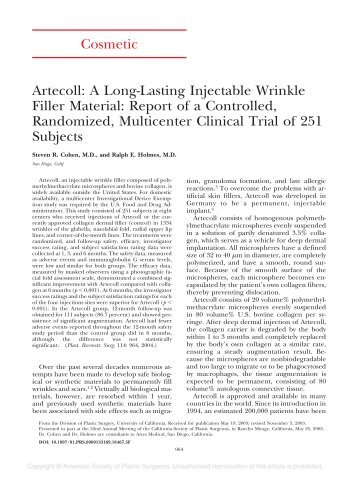 Cosmetic Artecoll: A Long-Lasting Injectable Wrinkle Filler Material ...