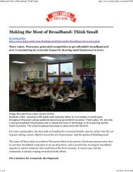 Making the Most of Broadband: Think Small - Center for Community ...