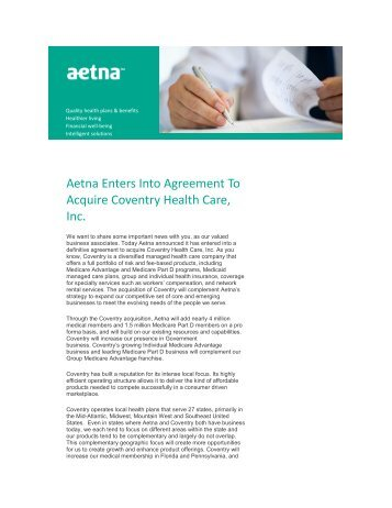 Aetna Enters Into Agreement To Acquire Coventry Health Care, Inc.
