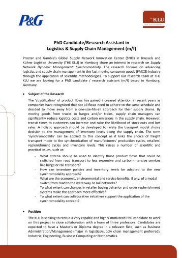 PhD Candidate/Research Assistant in Logistics & Supply ... - THE KLU