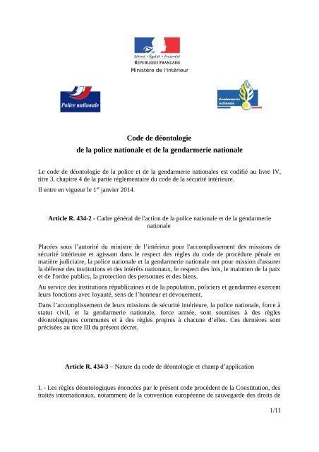 Code Deontologie Police Gendarmerie 06 12 2013