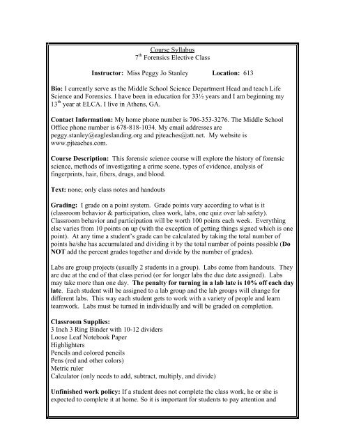 Forensics Syllabus Miss Stanley Cyber Classroom