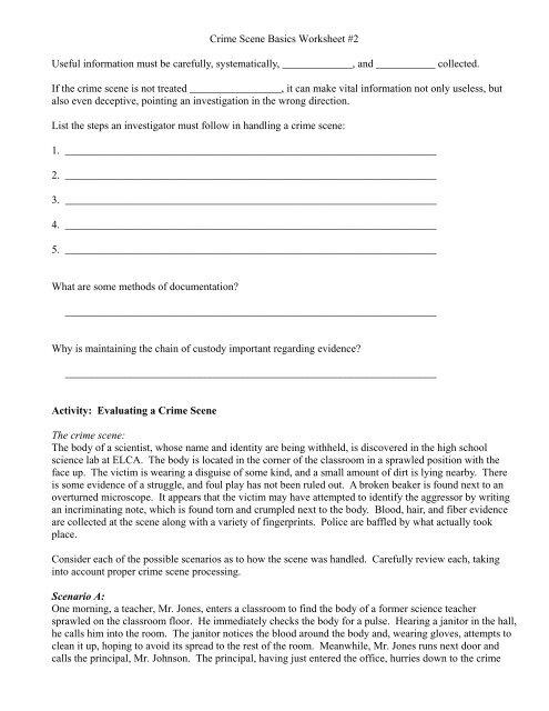 Crime Scene Basics Worksheet 2