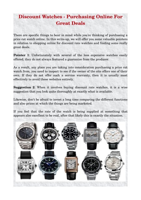 c1710667dabf2 Discount Watches Purchasing Online For Great Deals