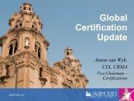 Certification Update – A. van Wyk - Global Institute of Internal Auditors