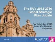Strategic Plan Update – P. Sobel - Global Institute of Internal Auditors