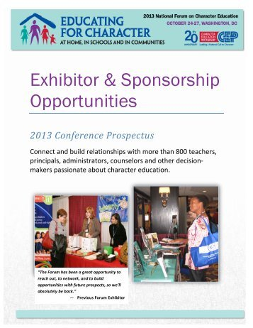 2013 Forum Sponsor Packet - Character Education Partnership