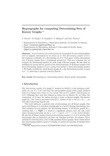 Hypergraphs for computing Determining Sets of Kneser Graphs *