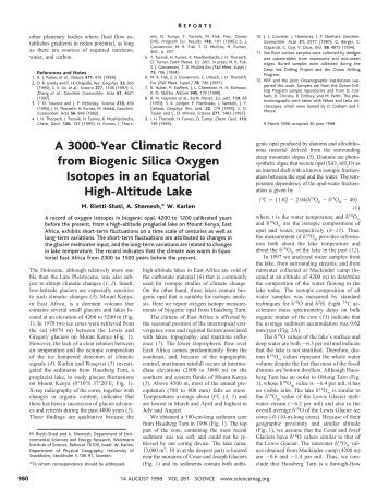 A 3000-Year Climatic Record from Biogenic Silica Oxygen Isotopes ...