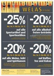 auf alle alkohol freien Getränke auf alle Sportartikel und - Welas Park