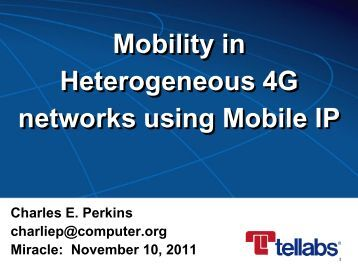 Mobility in Heterogeneous 4G networks using Mobile IP