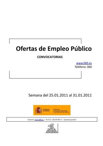 Oferta de Empleo Público del 25 al 31 de enero de 2011