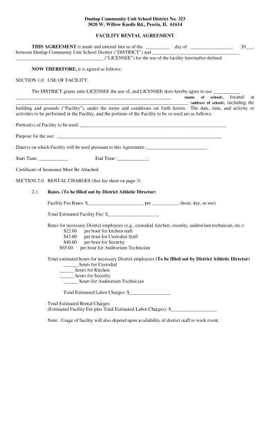Facility Rental Agreement pdf - Dunlap Community Unit School