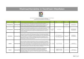 Weihnachtsmärkte in Nordrhein-Westfalen - Tourismus NRW e.V.