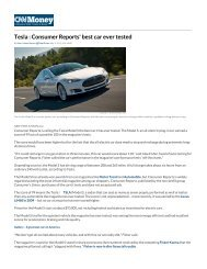 Tesla : Consumer Reports' best car ever tested - Technology Partners
