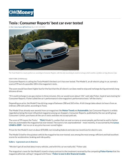 Tesla : Consumer Reports' best car ever tested - Technology