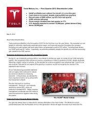 Tesla Motors, Inc. – First Quarter 2013 Shareholder Letter