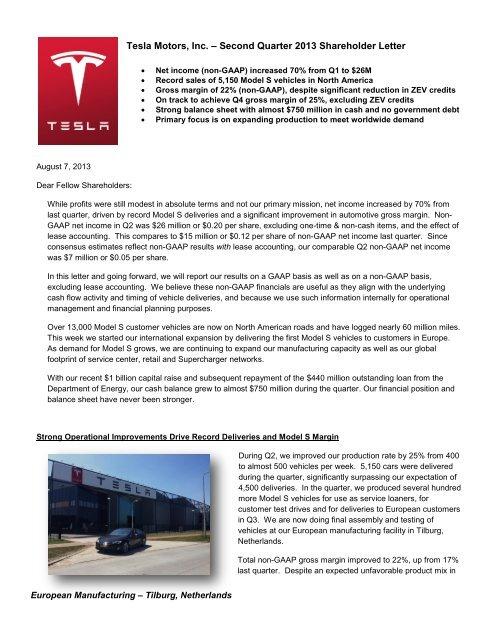 Vehicle Service Department Letter >> Tesla Motors Inc A Second Quarter 2013 Shareholder Letter