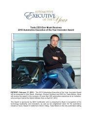 Elon Musk Receives 2010 Automotive Executive of ... - Tesla Motors