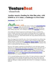 Another massive funding for thin film solar, with $104M to AVA Solar ...